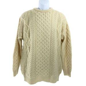 Aran Sweater Market Fisherman Sweater Wool Large
